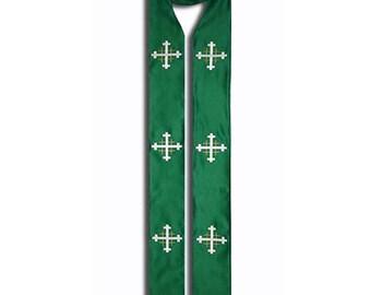 Clergy Stole, Jerusalem Cross Clergy Stole, Ordinary Time Clergy Stole, Green Clergy Stole, Priest Stole, Custom Embroidered Lining