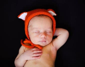 Fox hat newborn hat prop baby fox bonnet knitted fox hat baby photo props baby shower gift for baby MADE TO ORDER