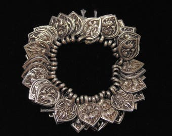 P801 - Lot of 47 Antique Silver Rajasthani Charms / Amulets / Pendants -Shiva Ganesh Moon Seven Sisters