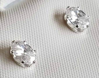 Sterling Silver Oval Cubic Zircon Stud Earrings Marquise Cut White Cubic Zircon Handmade Studs Wedding Jewelry Bridal Earrings Gift For Her