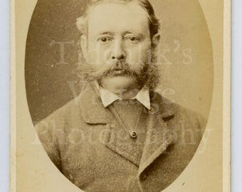 CDV Carte de Visite Photo Young Victorian Man with Big Mutton Chops by Heath & Bullingham of Plymouth England