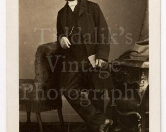 CDV Carte de Visite Photo Victorian Man with Mutton Chops Holding Book by Disderi of Paris France