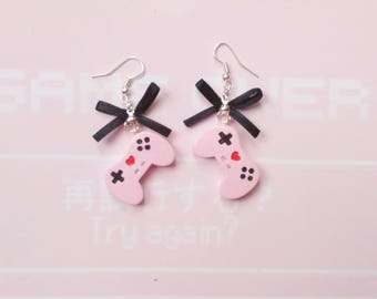 earrings kawaii controller geek polymer clay