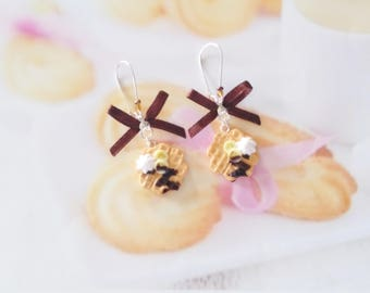 earrings waffle chocolate banana polymer clay