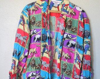 vintage silk rainbow safari animal button up shirt *