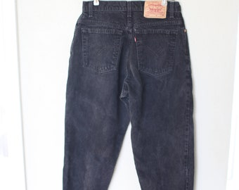 vintage 1980's high rise waist black levis 550  mom  jeans denim 30