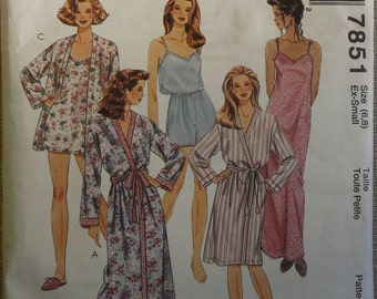 Misses' Sleepwear Inc. Camisole, Robe, & Nightgown in Size Extra Small (6,8) Complete Mostly Uncut Vintage 90s McCall's Sewing Pattern 7851