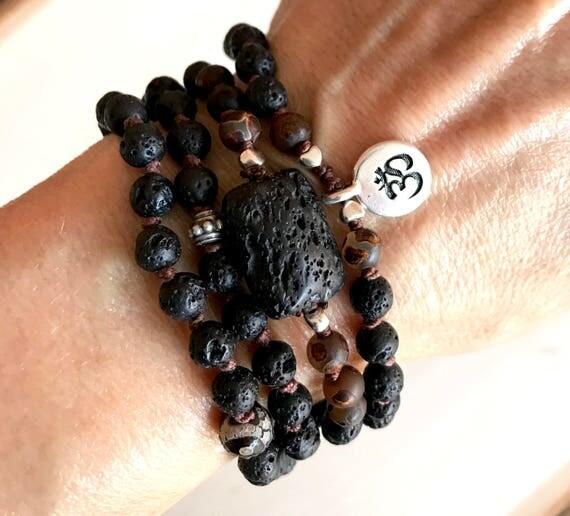 Essential Oil Mala- Diffuser Jewelry- Black Lava Beads- Unisex Jewelry- Boho Mala Beads- 108 Mala Beads- Basalt Jewelry - Bohemian Fashion