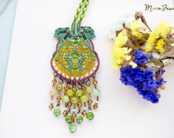Fringe necklace, unique, micro-macrame necklace, gemstone, agate, beadwork, passion fruit, green leaf, orange, unique, fiber art, boho chic