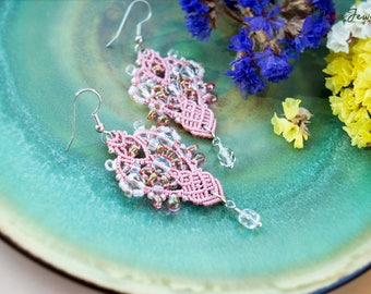 Elegant macrame beaded earrings, wedding, special occasion, dressy, boho, micro-macrame jewelry, beadwork, beadwoven, pale pink rose color