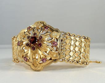 Stunning Victorian flexible bracelet with almandine garnets in 18K solid gold, Fine French gold cuff, ribbon fancy links, 1890s