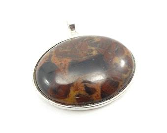 Vintage Brown Stone Pendant, Silver Tone