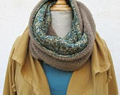 snood effect sheep glossy brown and khaki flowers