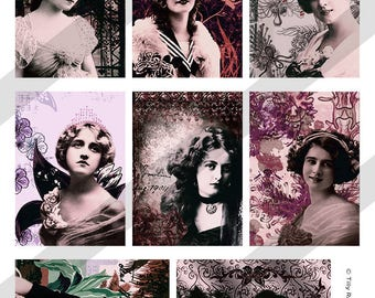 "Digital Printable Collage Sheet - 2.5"" x 3.5"" Vintage Women ATC Instant Digital Download"
