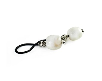 Begleri, Mini Komboloi, Greek Worry Beads, Large White Barrel Beads, Silver tone Metal Beads, Choose Cord Color, Made to Order