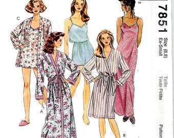 Misses Sleepwear: Robe, Pullover Nightgown, Camisole, Pull-On Shorts, Sizes XS (6,8), McCall's 7851