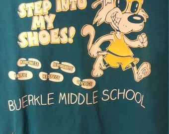 Vintage Retro Middle School T-Shirt w/ Dog Logo - Light Blue Old Hipster Shirts - Cool Graphic Tee - Authentic Hip Classic Cotton Tees