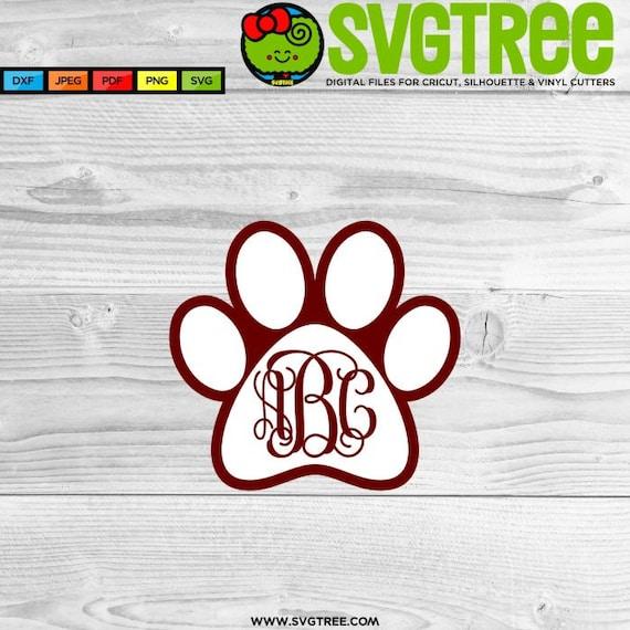 Download Paw Print SVG Bulldog SVG Paw Print Monogram Cricut Files