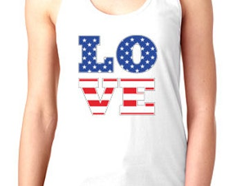 4th of July American flag Love graphic tank top in racerback for ladies and women funny graphic shirt women gift