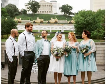 Baby BLUE Bridesmaid Dress, 3-in-1 multiway capped sleeve Pin Up Wedding Party