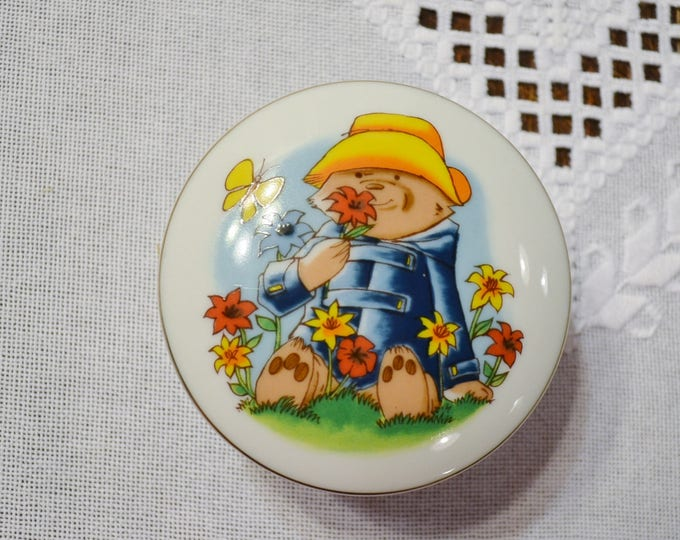 Vintage Paddington Bear Trinket Box Eden Toys Inc Smell the Flowers Jewelry Box Japan PanchosPorch