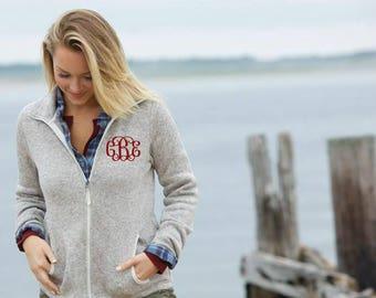 Monogrammed Fleece Jacket    Charles River Heathered Sweater Fleece Full-Zip Jacket   Preppy Personalized Outerwear