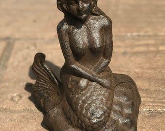 Mermaid sitting on a rock statue, nautical decor,