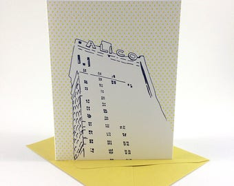 Waco, Texas Letterpress Card | ALICO Building | navy & yellow single blank card with envelope