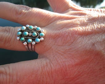 Turquoise Petit Point and Sterling Silver Ring Size 7