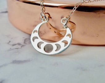 Moon phase necklace, double horn pendant, celestial jewelry, inspirational jewelry, sterling silver