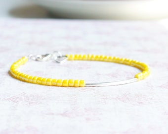 Silver And Yellow Bracelet, Seed Bead Bracelet, Stacking Bracelet, Beaded Bracelet, Silver Tube Bracelet, Dainty Bracelet, Simple Bracelet