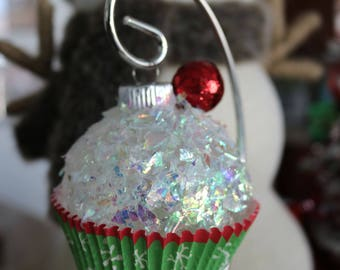Cupcake Ornament, Holiday Ornament, Christmas Ornament