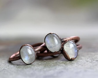 Moonstone Ring Electroformed Copper Ring Stone Ring Rainbow Moonstone Natural Stone Delicate Ring