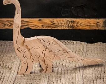 Wood Dinosaur Puzzle. Brontosaurus Puzzle