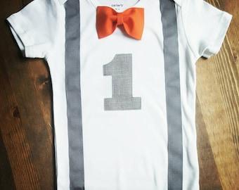 Boys First Birthday Outfit - Boys 1st Birthday Gray Suspenders Orange First Birthday - First Birthday Boy Shirt -1st Birthday Boy Outfit
