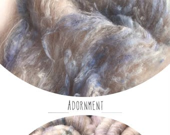 "Hand carded batt ""ADORNMENT"" with Camel silk - spinning felting weaving"