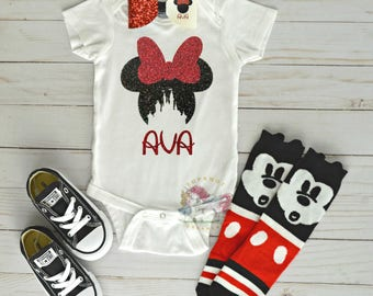 Personalized Minnie Mouse Onesie, Minnie Mouse Shirt, Disney Onesie, Disney Castle Onesie, Minnie Outfit, Mickey Socks, Minnie Converse