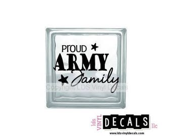 PROUD ARMY Family - Patriotic and Military Vinyl Lettering for Glass Blocks - USA Decals
