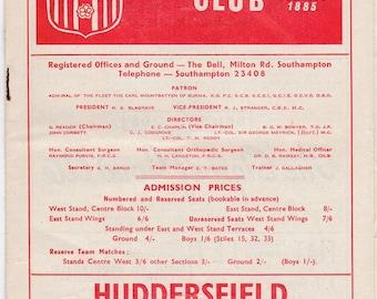 Vintage Football (soccer) Programme - Southampton v Huddersfield, 1965/66 season