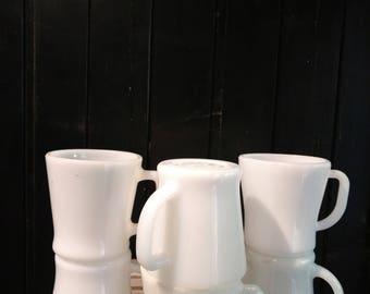 Set of 6 White Milk Glass Mugs