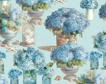 Hydrangea Fabric, Coastal Fabric, Floral Fabric - Coastal Bliss-  Wilmington Prints - 89175 447 - Priced by the 1/2 yard
