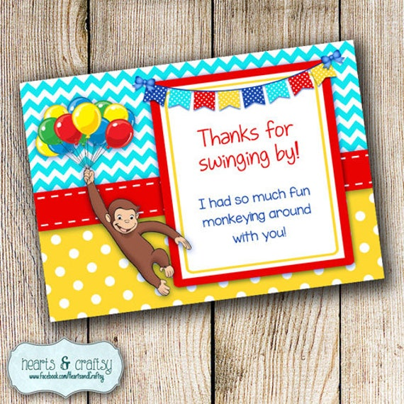 Curious George Birthday Party Thank You Card Curious George Party