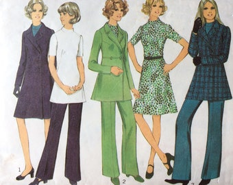 Vintage sewing pattern, Style 3896, vintage coat, dress, trousers, dress, tunic, size 10, bust 32.5, 1972 pattern, mid century fashion.