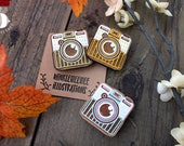 Smile For The Camera - Laser Cut Wooden Pins