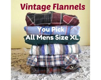 Mens Plaid Flannel Shirt, Oversized Flannel Shirt, Indie Boyfriend Flannel, Vintage Plaid Flannel - You PICK Flannel - ALL Mens Size XL