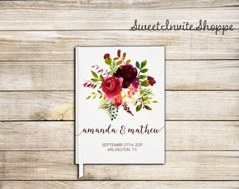 Floral Burgundy Wedding Guest Book, Custom Wedding Guest Book, Bridal Shower Guest Book, Rustic Guest Book, Floral Boho Guest Book