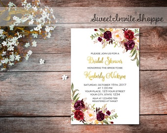 Bridal Shower Invitation, Marsala Gold Bridal Invitation, Marsala Wedding, Floral Boho Invitation, Burgundy Bridal Shower Invitation
