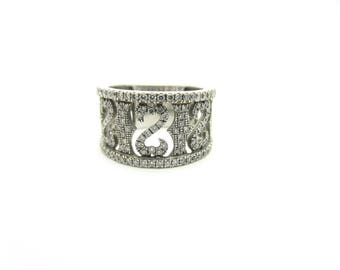 Estate Open Hearts Ring by Jane Seymour Wide Diamond Band 18k White Gold Sz 7.25