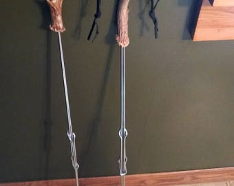 Hot Dog Sticks, Roasting Sticks, s'mores roasters..set of 2 (two) adjustable campfire tool for hot dogs, marshmallows, deer antler handle