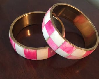 Vintage Indian Pink & White Bone Bangles - Set of 2